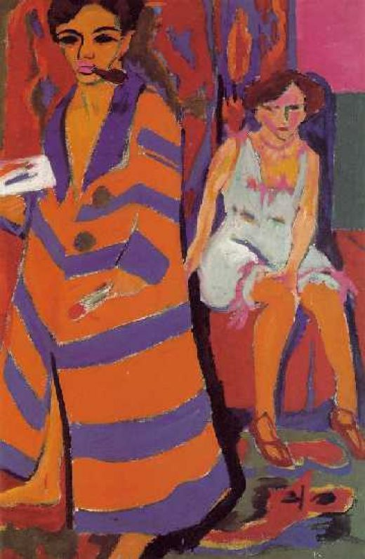 Ernst Kirchner, Self Portrait with Model (1910)