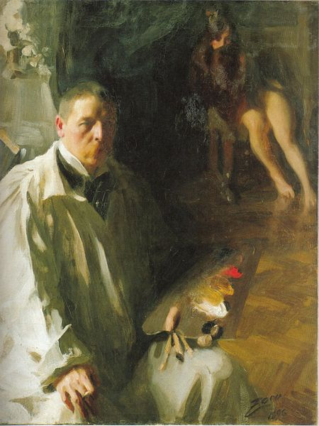 Anders Zorn, Self Portrait with Model (1896)
