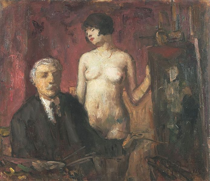 Béla Iványi-Grünwald, Self-portrait with a Model