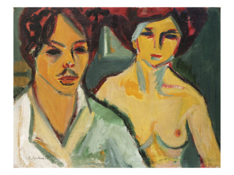 Ernst Kirchner, Self Portrait with Model (1905)