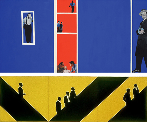 (Top) Rosalyn Drexler, Home Movies, 1963. (Bottom) Idelle Weber, Munchkins I, II, & III, 1964.