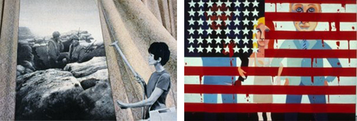 (L) Martha Rosler, Cleaning the Drapes, 1967-72. (R) Faith Ringgold, The Flag is Bleeding, 1967.