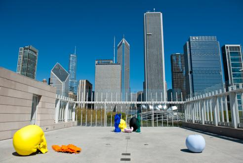 Fritsch's work against the Chicago skyline.