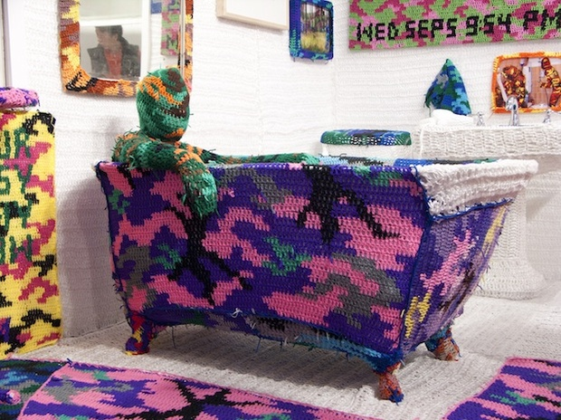 """Knitting Is for Pus****"" by Olek. Photograph by the artist."