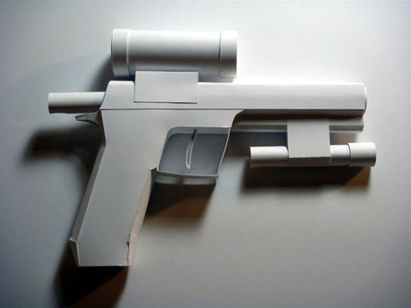 One of Sarah Frost's paper guns.