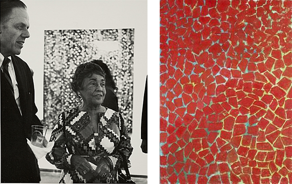 Alma Thomas at the Whitney (left), Delightful Song by Red Dahlia, 1976 (right)