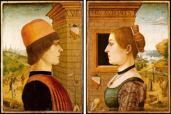 Maestro delle Storie del Pane, Portrait of a Man, possible Matteo di Sebastiano di Bernardino Gozzadini, and Portrait of a Woman, possible Ginevra d'Antonio Lupari Gozzadini, 1485-95