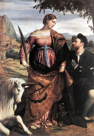 Moretto da Brescia, St Justina with Unicorn 1530