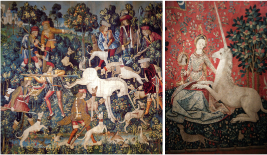 The Unicorn Tapestries, The Unicorn at Bay (left), The Unicorn is Tamed (right)