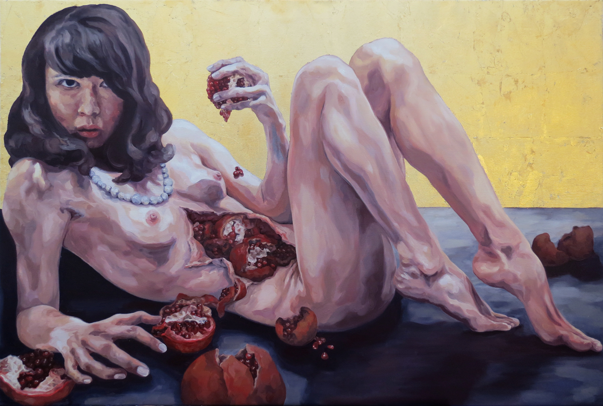 "Melissa Huang, Self-Portrait as a Young Woman, 2013, oil on canvas, 31.5""x 47"""