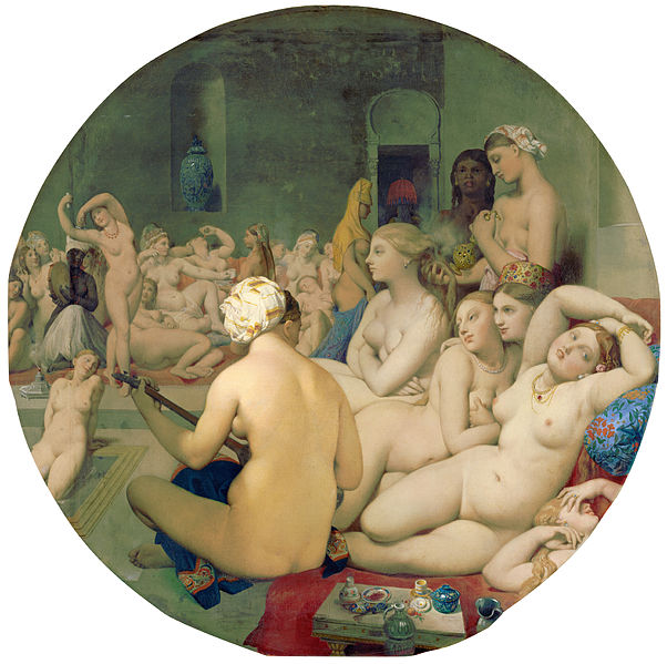 "Jean-Auguste-Dominique Ingres, The Turkish Bath, 1862, oil on wood, 43""x43"""