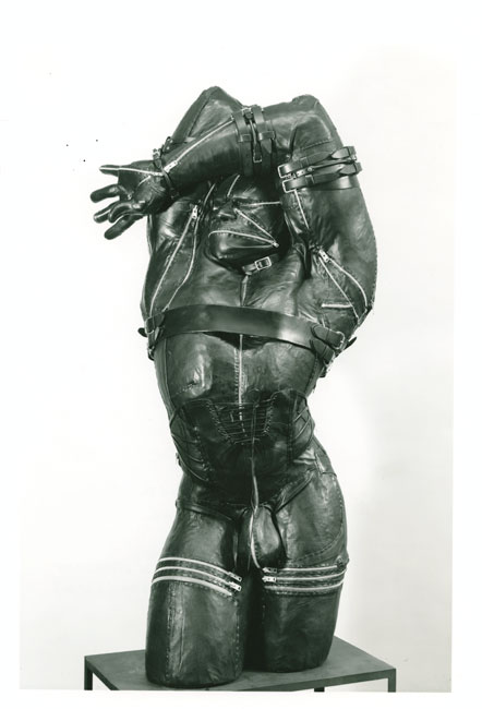 Nancy Grossman, Male Figure, 1971, wood, leather, and metal, 68 inches high, The Israel Museum, Jerusalem, gift of Joseph H. Hazen, New York, to the American Friends of the Israel Museum