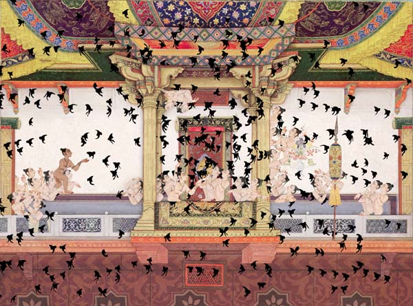 Shahzia Sikander, SpiNN, 2003, video animation, still shot. Women's hair transform into birds and invade a Mughal court.Shahzia Sikander, SpiNN, 2003, video animation, still shot. Women's hair transform into birds and invade a Mughal court.