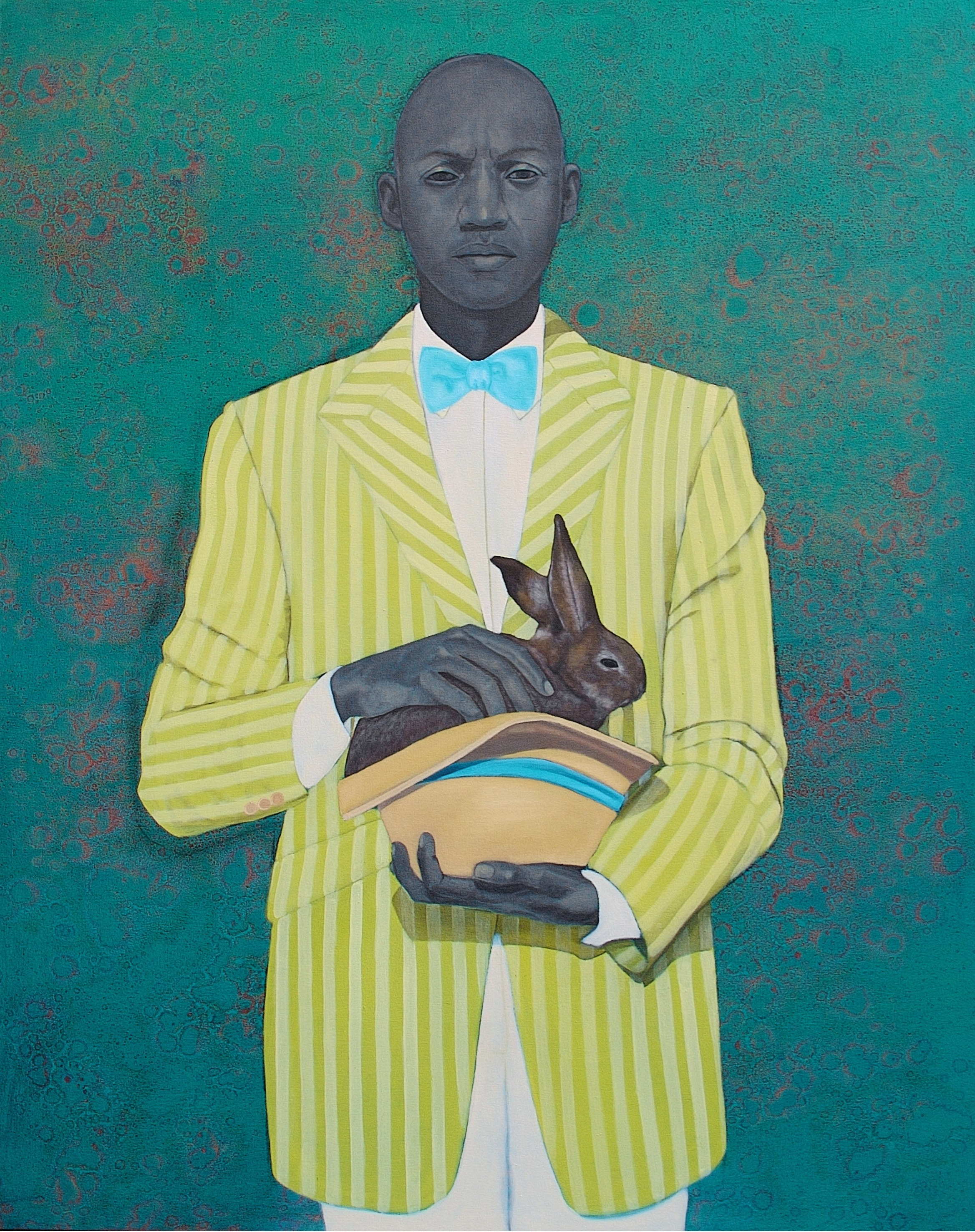 "Amy Sherald, The Rabbit in the Hat, 2009, oil on canvas, 54""x43"""