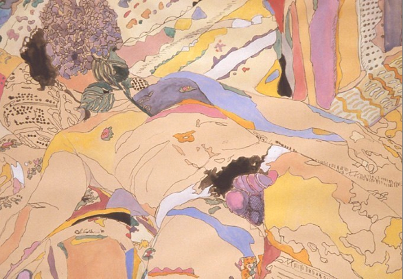 Eunice Golden, Study for Gardens of Delight #1, 1980, mixed media on paper, 18x24""