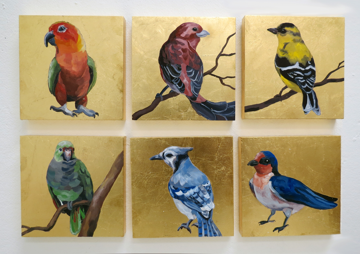 "Melissa Huang, Birds, 2013, 6""x6"" each, oil on canvas, gold leaf"