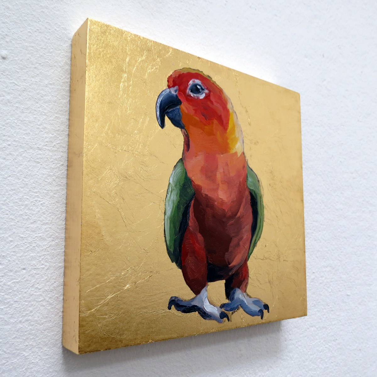 "Melissa Huang, Parrot, 2013, 6""x6"" each, oil on canvas, gold leaf"