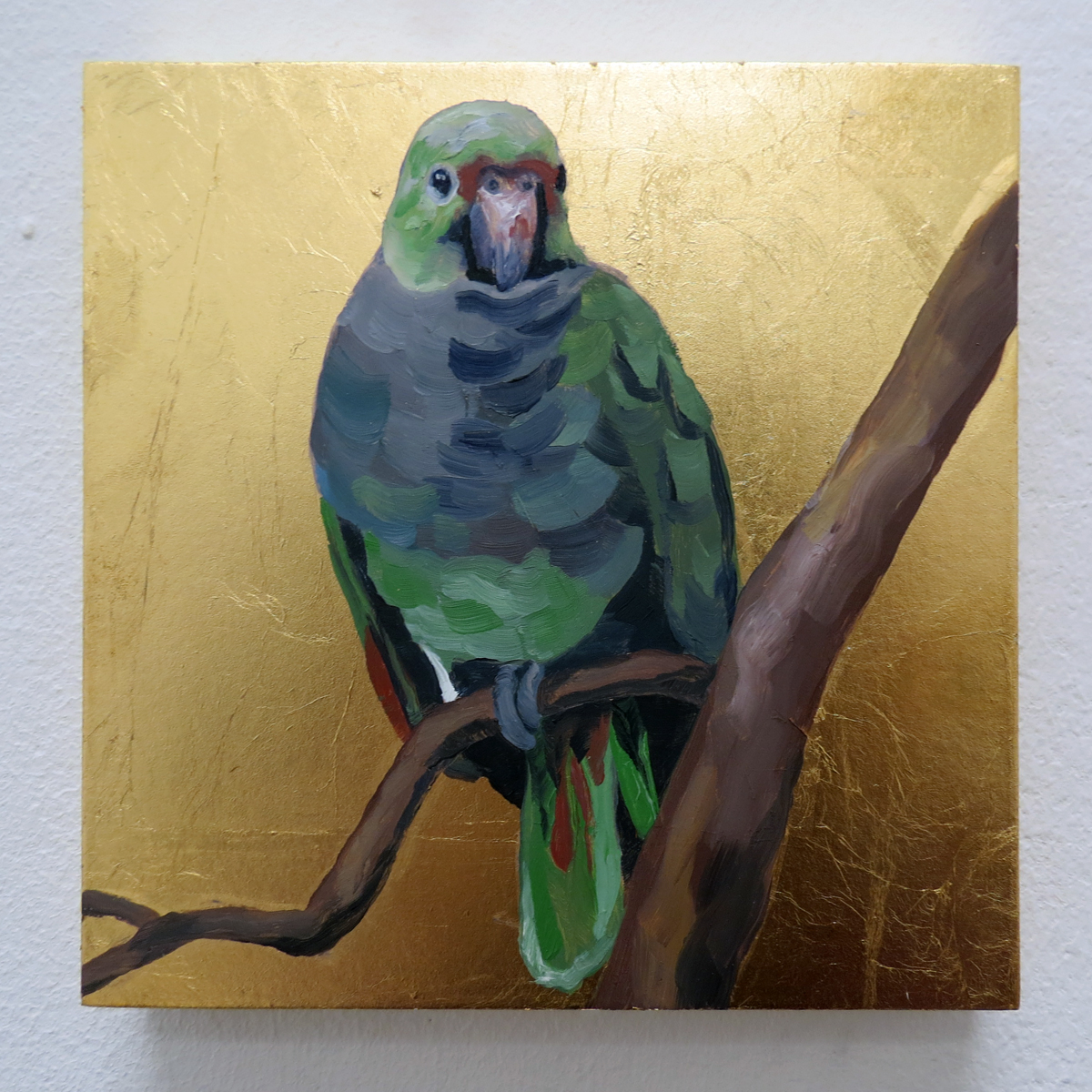 "Melissa Huang, Green Parrot, 2013, 6""x6"" each, oil on canvas, gold leaf"