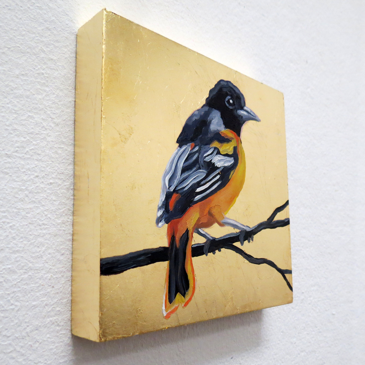 "Melissa Huang, Baltimore Oriole, 2013, 6""x6"" each, oil on canvas, gold leaf"