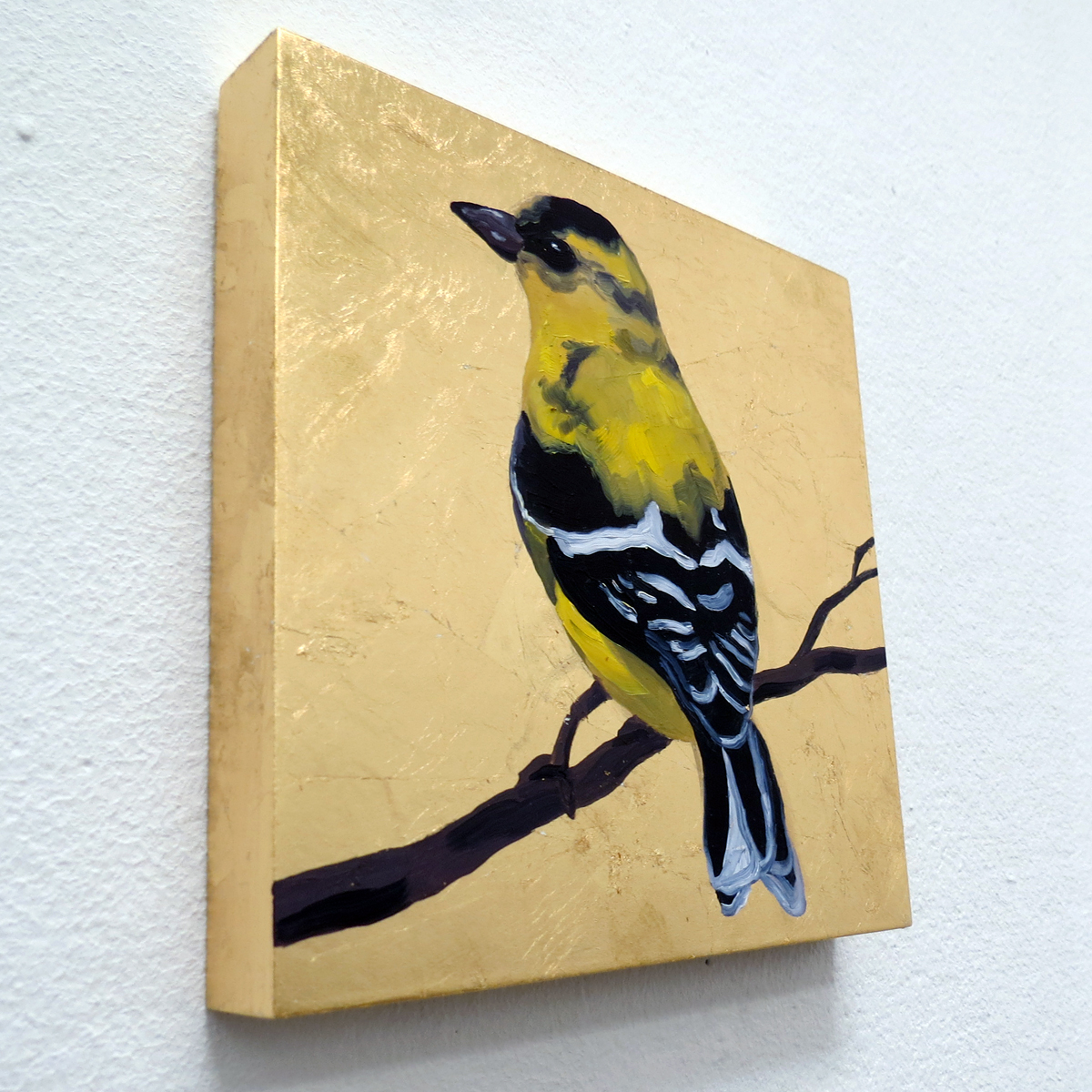 "Melissa Huang, American Goldfinch, 2013, 6""x6"" each, oil on canvas, gold leaf"