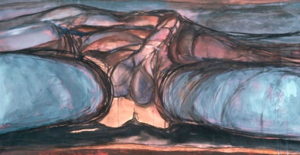 Eunice Golden, Landscape #160, 1972, mixed media on paper, 26x51""