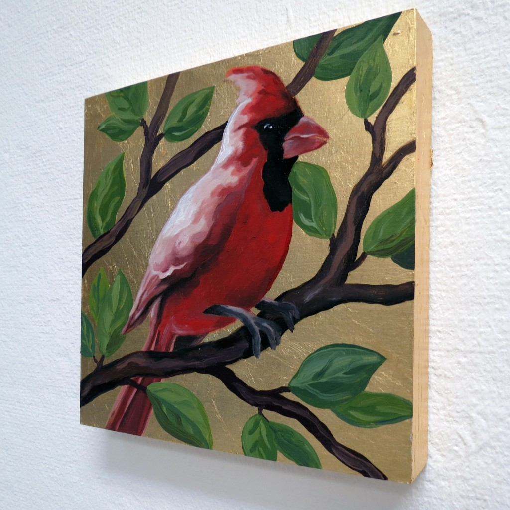 "Melissa Huang, Cardinal, 2014, oil on board, gold leaf, 6"" x 6"""