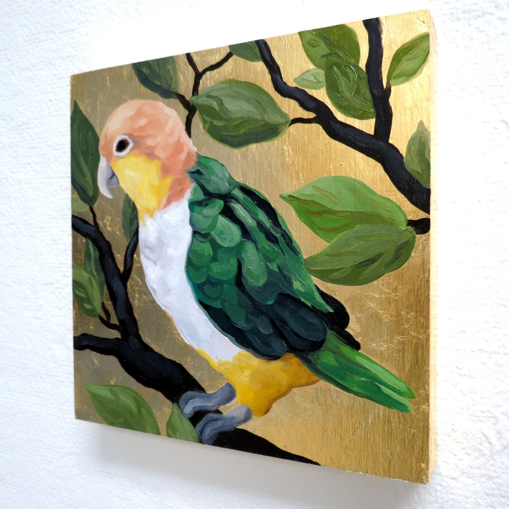 "Melissa Huang, Parrot in the Jungle, 2014, oil on board, gold leaf, 6"" x 6"""