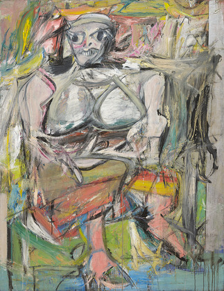 "Willem de Kooning, Woman I, 1950-52, oil on canvas, 6' 3 7/8"" x 58"""