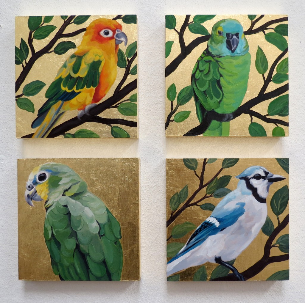 "New bird oil paintings! 6"" x 6"" on panel with gold leaf."