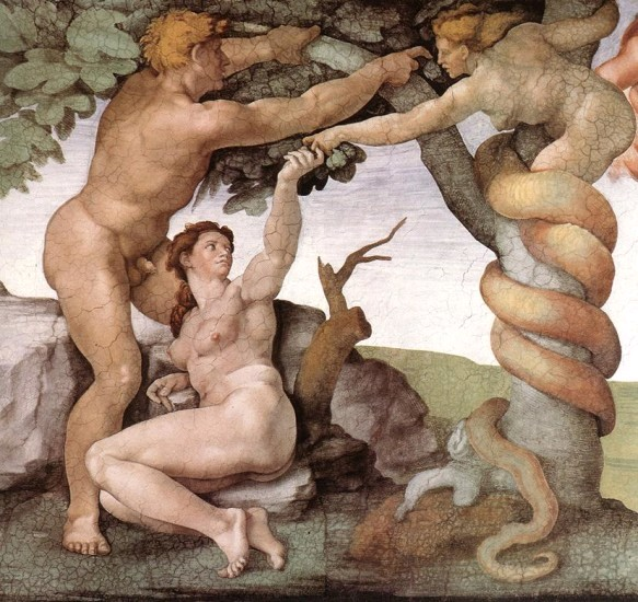Michelangelo Buonarroti, The Fall, detail of the ceiling of Sistine Chapel, 1508-1512.