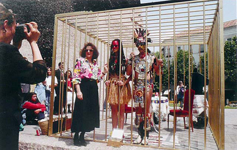 Coco Fusco & Guillermo Gomez-Pena, Two Undiscovered Amerindians Visit Madrid, 1992