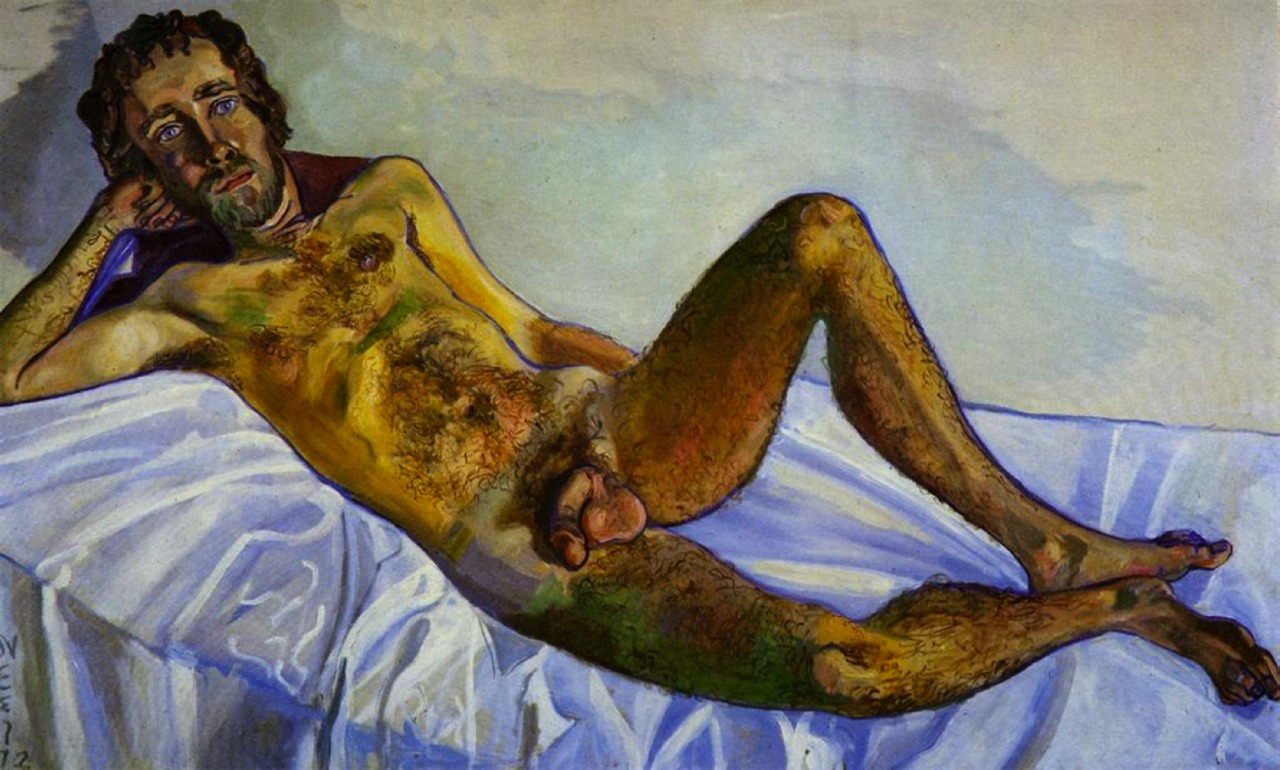 "Alice Neel, John Perreault, 1972, oil on canvas, 38"" x 63.5"""