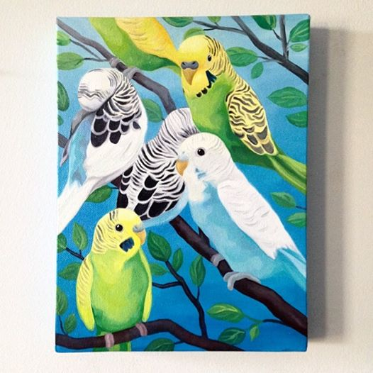 "Melissa Huang, Five Parakeets, 2014, Oil on canvas, 12"" x 9"""