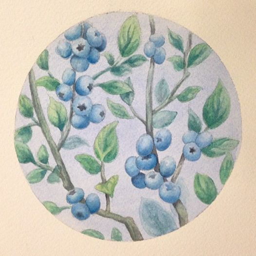 "Melissa Huang, Blueberry Bush, 2014, Oil on canvas, 5.5"" x 5.5"" (image)"